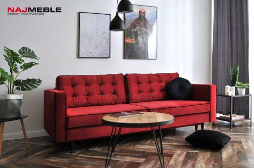 czerwona sofa rozkładana