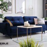 granatowa sofa welurowa