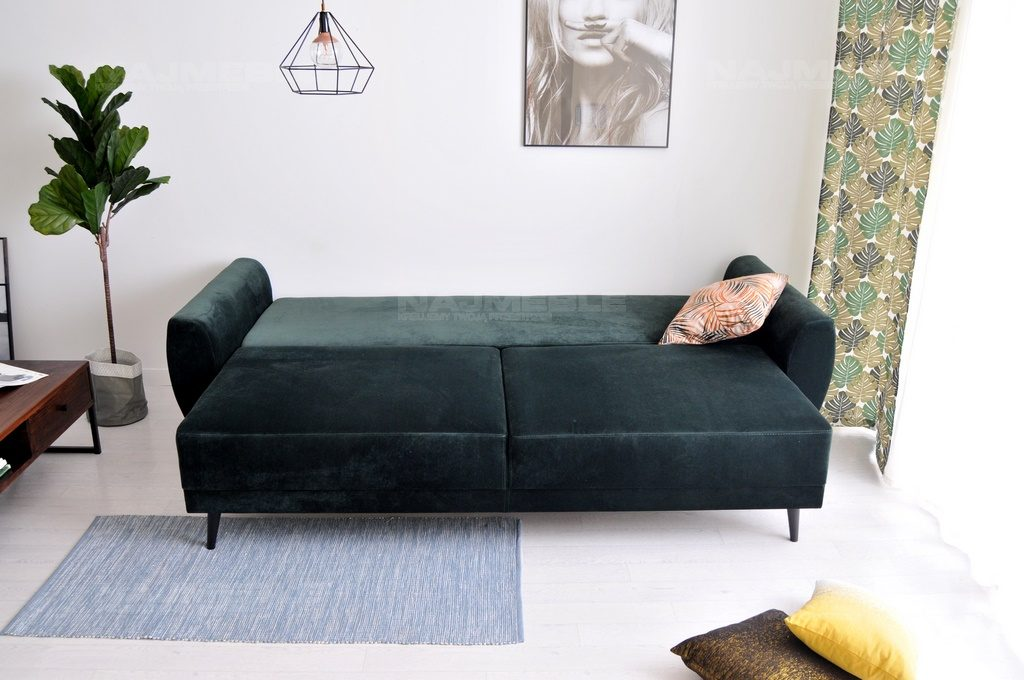 Sofa W Stylu Skandynawskim Jorgen Zielona Z Funkcją Spania