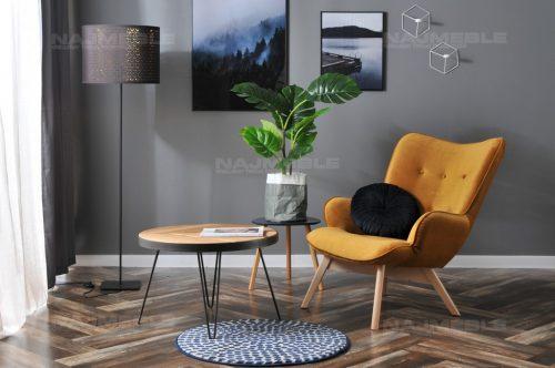 welurowy fotel zółty