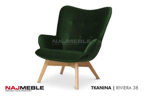welurowy fotel zieona butelka