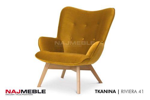 żółty fotel z weluru