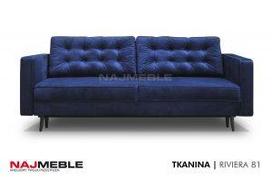 granatowa sofa pikowana
